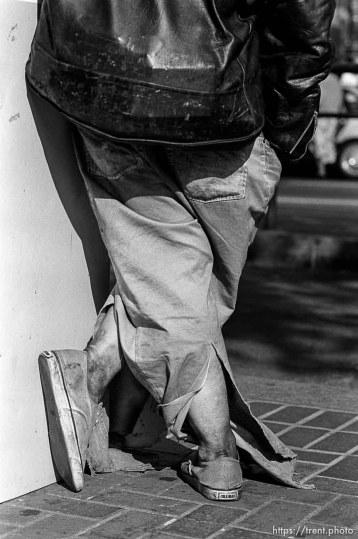 Homeless man's legs