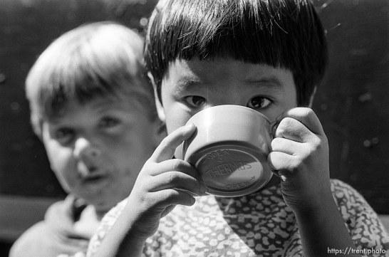 Boy drinking on the first day of kindergarten (Mrs Griebstein's class).