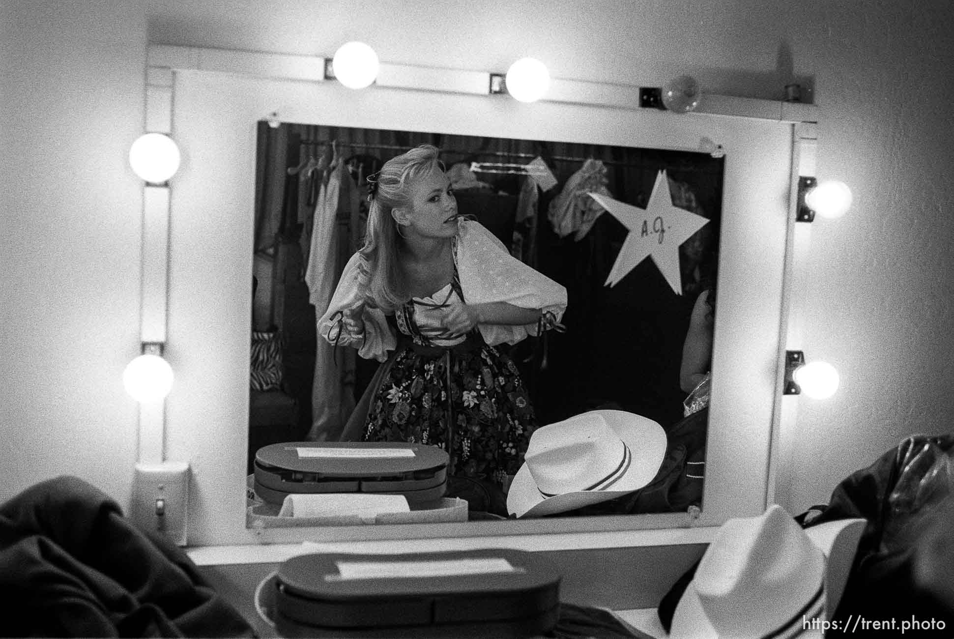 Contestant in dressing room at the Miss Contra Costa County Pageant