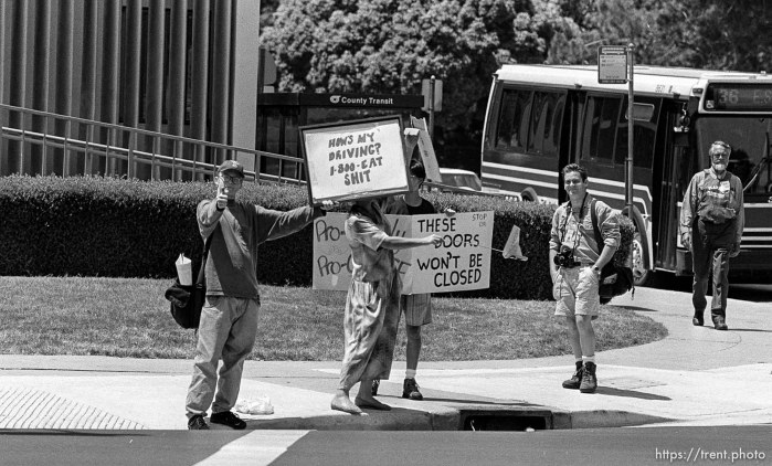 Anthony Quayle as Protest Boy at abortion protest. Dave Lowe at right