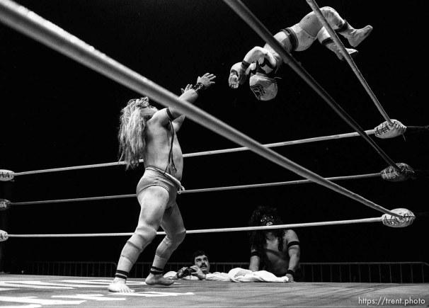 Wrestling action at Luche Libre pro-wrestling.