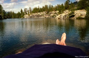 Trent feet and lake on solo hike to Sword Lake