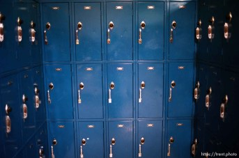 Blue lockers at Pine Valley Intermediate School.