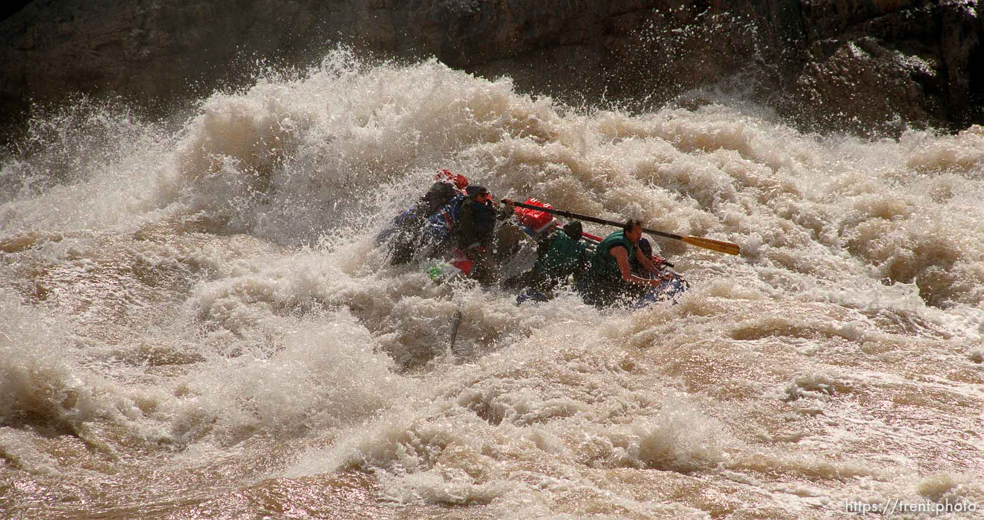 Raft in Crystal Rapid. Grand Canyon flood trip.