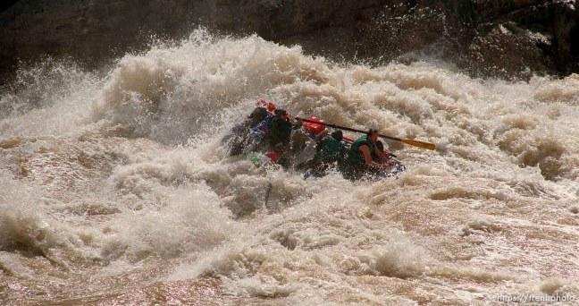 Raft in Crystal Rapid. Grand Canyon flood trip.