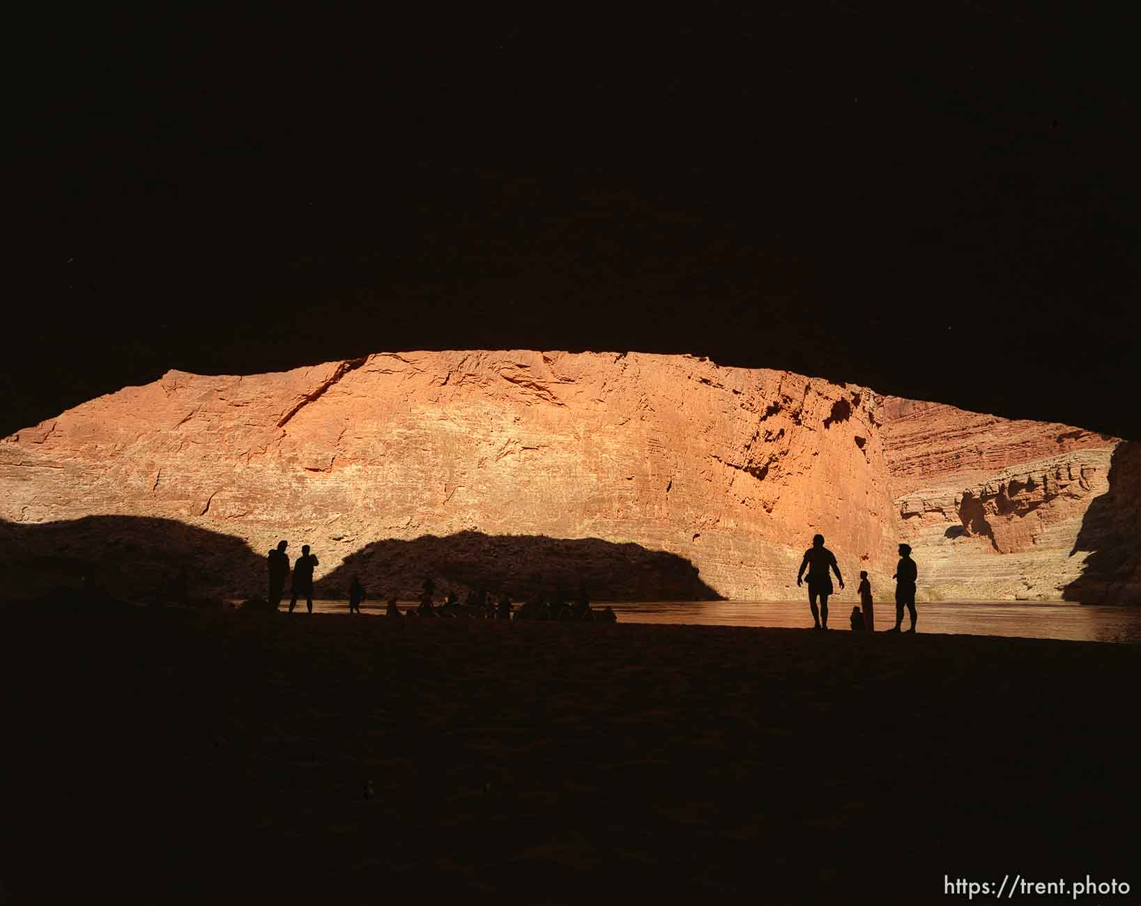 People at Redwall Cavern. Grand Canyon flood trip.