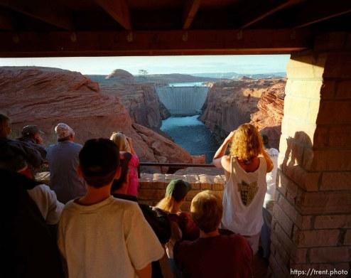 People looking at Glen Canyon Dam. Grand Canyon flood trip.