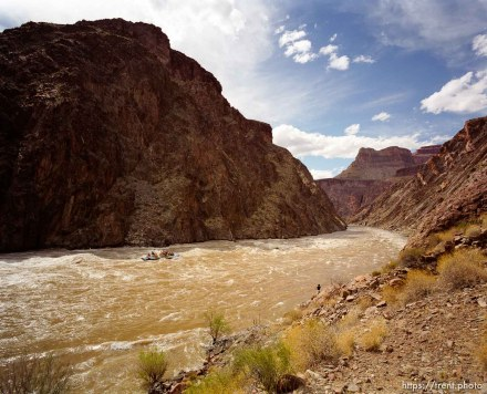 A J-rig raft makes its way down the Colorado River near Crystal Rapid during a man-made flood in the Grand Canyon, March 1996.