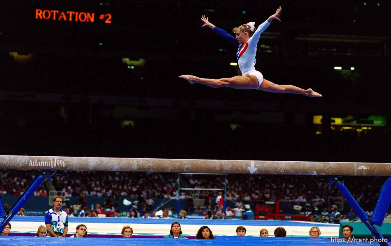 Shannon Miller on the beam at Womens Team Gymnastics at the 1996 Summer Olympic Games
