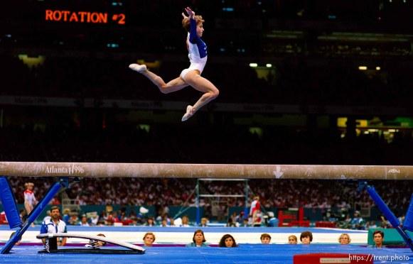 Kerri Strug on beam at Womens Team Gymnastics at the 1996 Summer Olympic Games