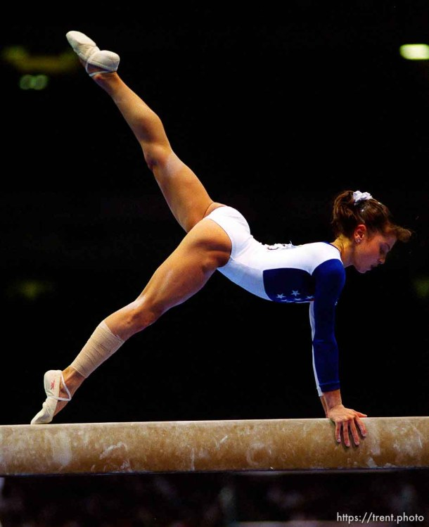 Dominique Moceanu on the beam at Womens Team Gymnastics at the 1996 Summer Olympic Games