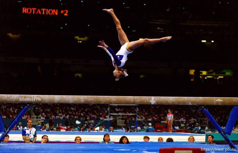 Shannon Miller on beam at Womens Team Gymnastics at the 1996 Summer Olympic Games