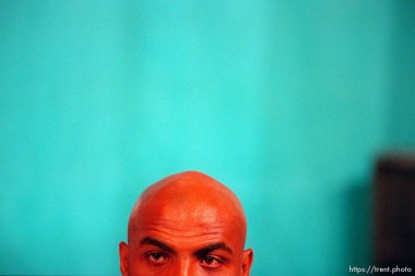 Charles Barkley's head at the Dream Team press conference at the 1996 Summer Olympic Games