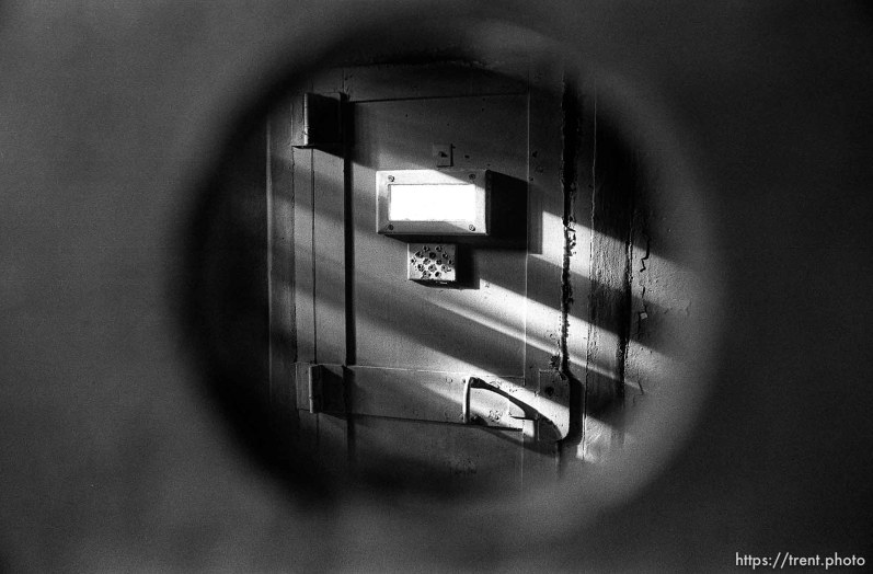 Door seen through gun hole at Alcatraz