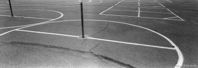 Lines on playground for tether-ball, four-square at Walt Disney Elementary School.