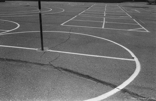 Tether-ball and four-square courts at Walt Disney Elementary
