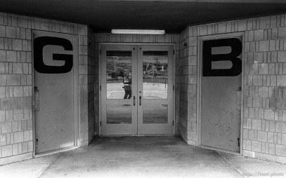 Girls and boys bathroom doors at Walt Disney Elementary.