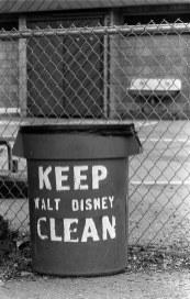 """Keep Walt Disney Clean"" on garbage can at Walt Disney Elementary"