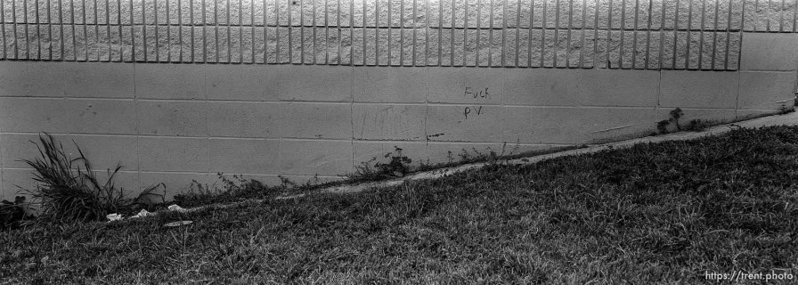 """fuck P.V."" graffiti on wall at Pine Valley Intermediate"