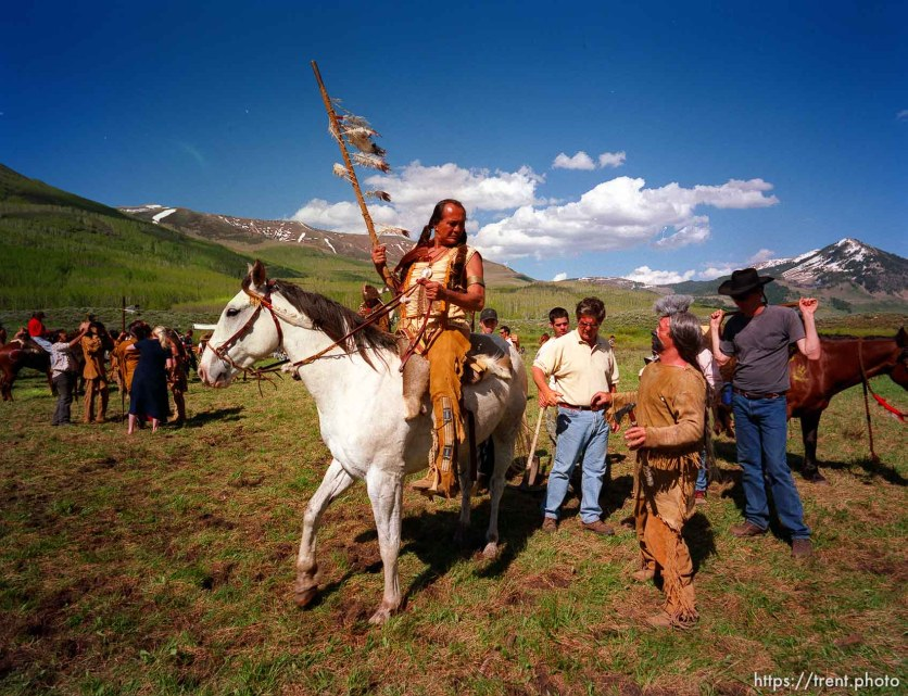 "Russell Means while filming the movie ""Windy River."""