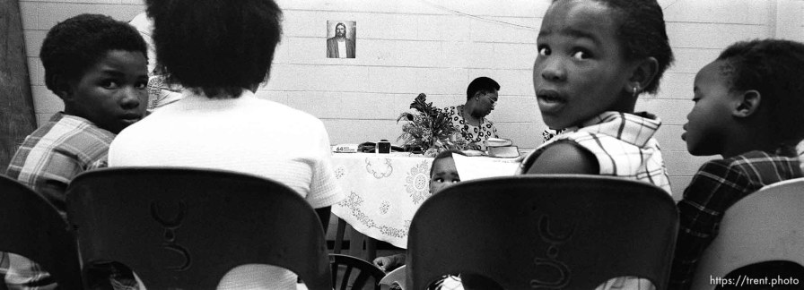 Children in primary during an LDS church service in the Guguletu township.