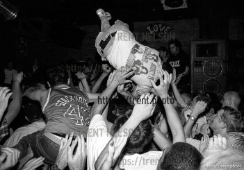 Stage diver at Earth Crisis at Brick's Club.