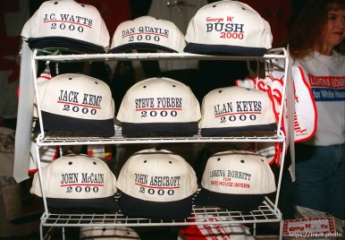 """Republican campaign caps, one says """"Lorena Bobbitt for White House Intern"""" at the Utah State Republican Party Convention, held at Utah Valley State College."""