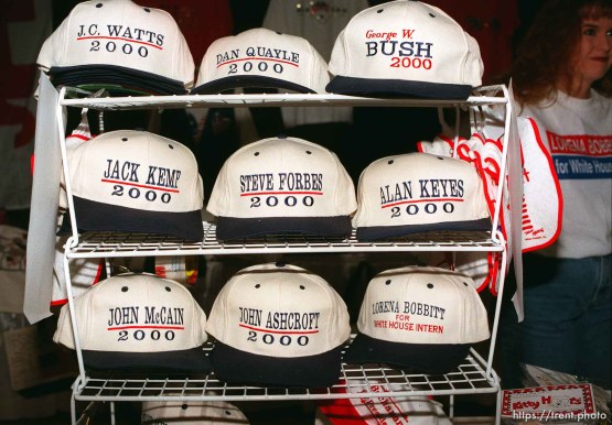 "Republican campaign caps, one says ""Lorena Bobbitt for White House Intern"" at the Utah State Republican Party Convention, held at Utah Valley State College."