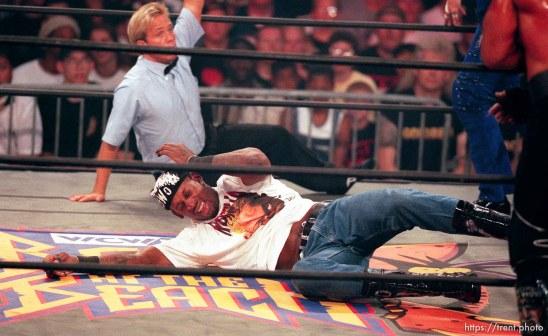 Dennis Rodman hits the mat at WCW's Bash at the Beach.