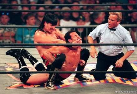 Eddie Guerrero holds Chavo Guerrero Jr. at WCW's Bash at the Beach.