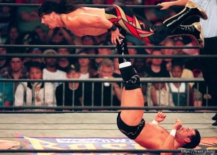 Chavo Guerrero Jr. flips Eddie Guerrero at WCW's Bash at the Beach.