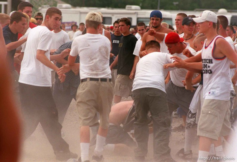 Straightedge kids stomp someone at the Vans Warped Tour.