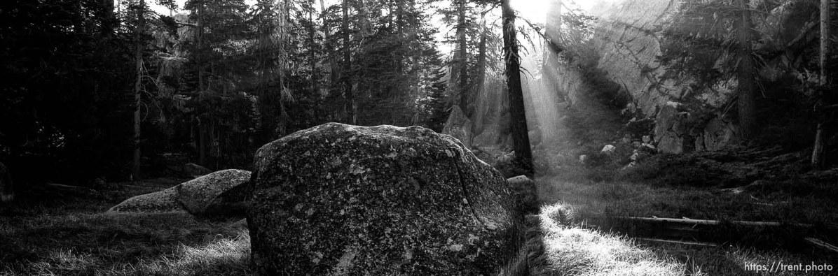 Smoky sunrise and rocks at Sword Lake