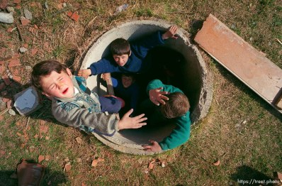 Kids in a pipe.