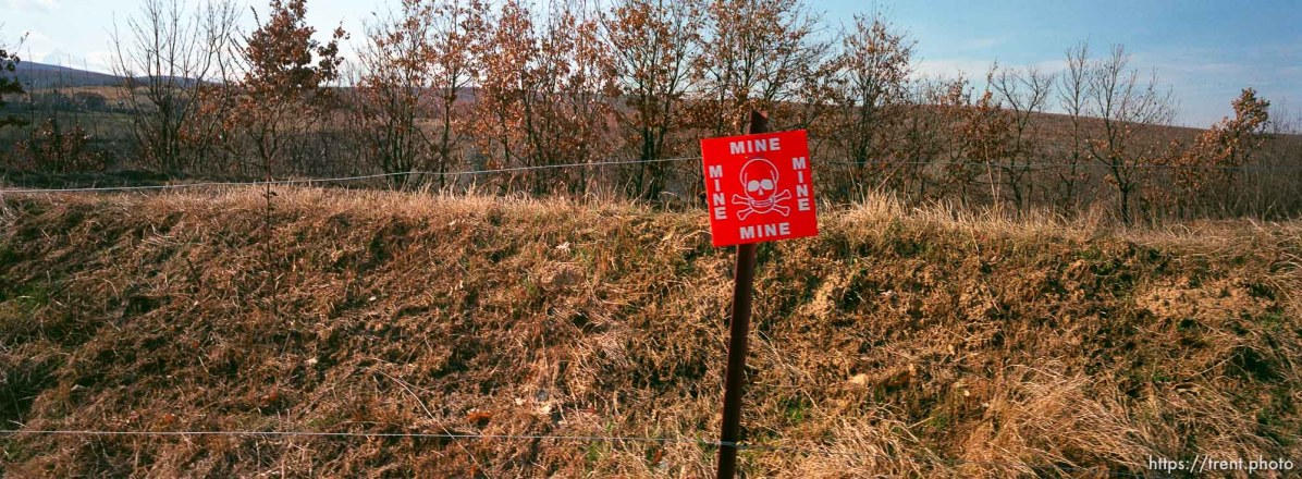 Land mine warning sign.