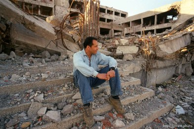 Ed Knowles at the bombed remains of the Serbian MUP police station, destroyed by NATO cruise missiles.