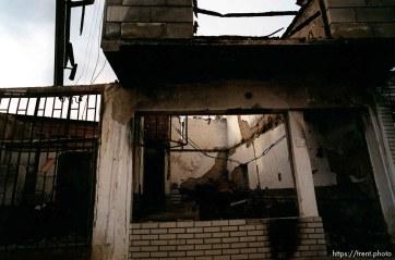 Destruction in the lower Bosniac area of North Mitrovica.