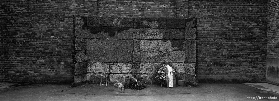 The wall of death at the Auschwitz Concentration Camp.