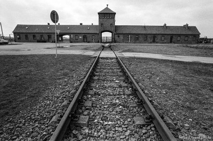 "Rails and the ""Death Gate"" at the Birkenau Concentration Camp."