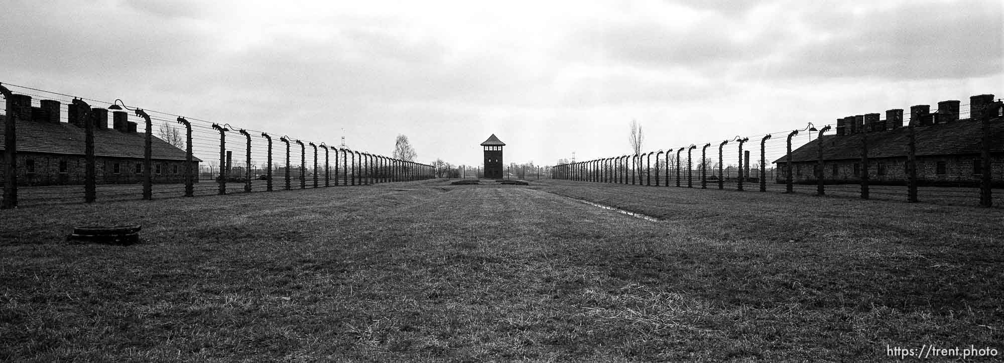Guard tower and fences at the Birkenau Concentration Camp.