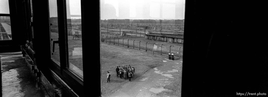 """View from the guard tower on the """"Death Gate"""" at the Birkenau Concentration Camp."""