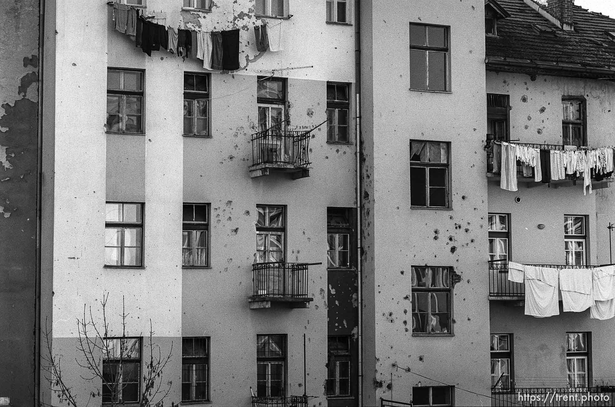 Shot-up apartment building