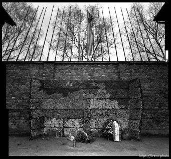 The Wall of Death at the Auschwitz death camp, eastern Poland. Photo by Trent Nelson