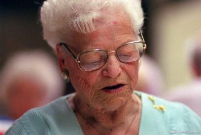 Hilda Gattenby playing Bingo at the Midvale Senior Center.
