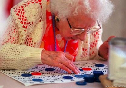Erna Shilinsky playing Bingo in Kearns.