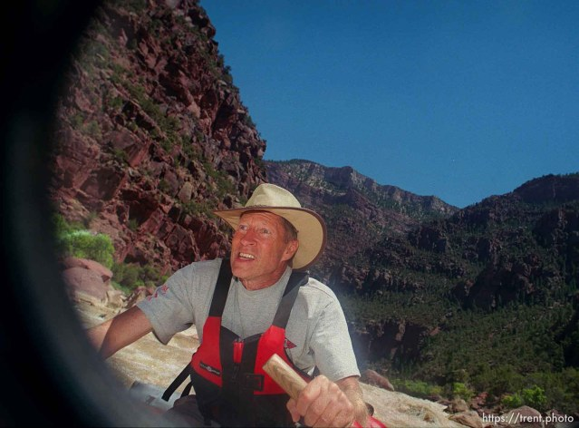 Dee Holladay pilots through Hells Half Mile on a Native American river trip through Lodore Canyon and Dinosaur National Monument.