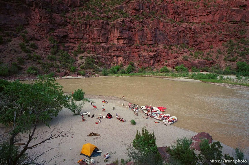 Wild Mountain camp on a Native American river trip through Lodore Canyon and Dinosaur National Monument.