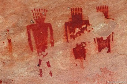 Pictographs at Deluge Shelter on a Native American river trip through Lodore Canyon and Dinosaur National Monument.
