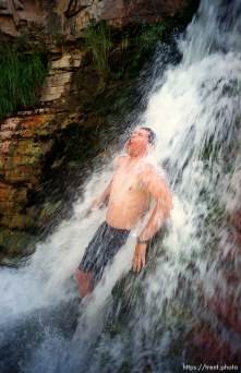 Chris Smith in Ely Falls on a Native American river trip through Lodore Canyon and Dinosaur National Monument.