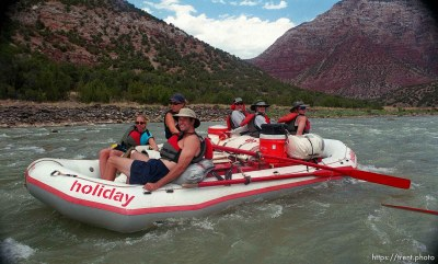 Passengers on Mary Engels' boat on a Native American river trip through Lodore Canyon and Dinosaur National Monument.